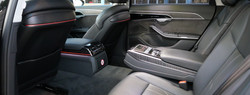 The rear cabin of our Audi A8 LWB.