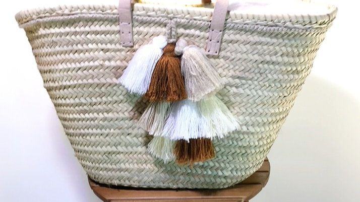 Moroccan Straw Woven Tassel Bag