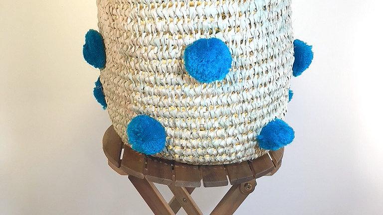 Blue Pom Pom Basket