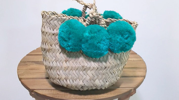 Blue Pom Pom Weave Bag