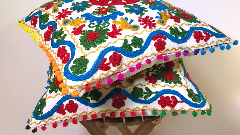 Boho Embroidered Pillow