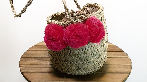 Pink Pom Pom Weave Bag