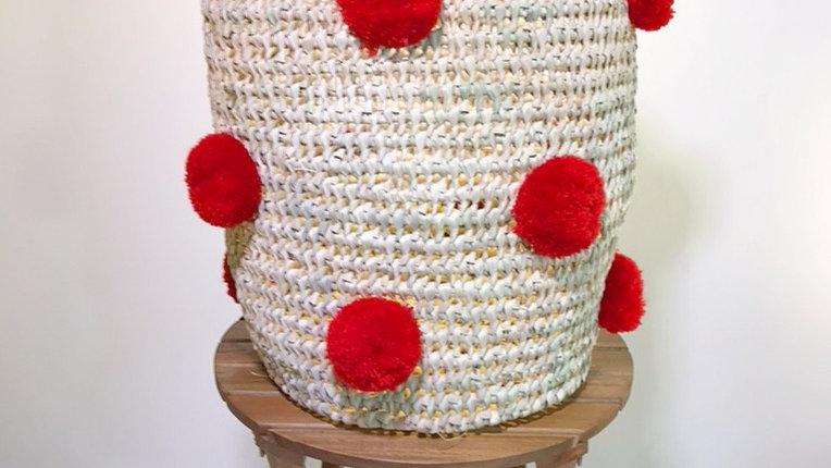 Red Pom Pom Basket