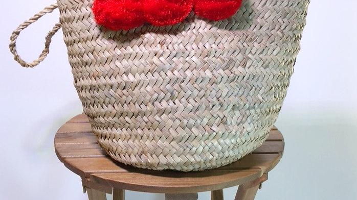 Red Pom Pom Weave Bag