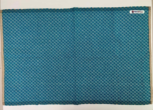 TW1070.04   Towels - Large Peacock Blue & Beige   100% Cotton Super-absorbent Ma