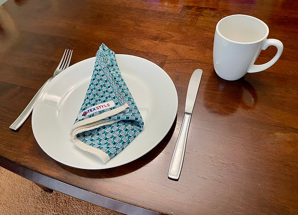 TN1053.02   Table Napkins   Aqua & Navy   Dining Table, Home Decor