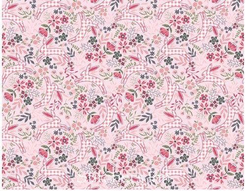 Gingham Farmhouse -Bunnies pink