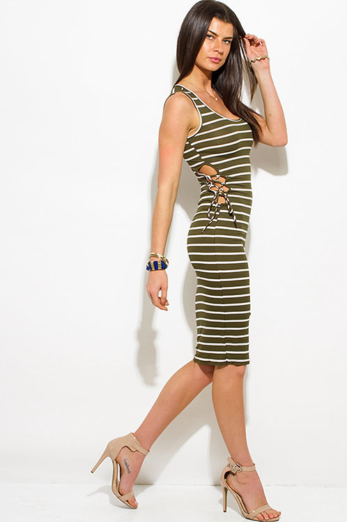 Olive Lace Side Dress