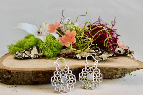 Moonstone Honeycomb Earrings