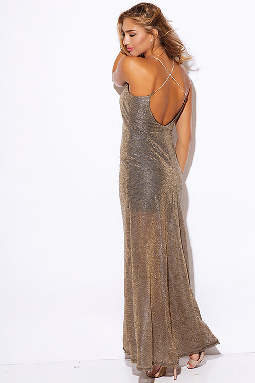 Gold Metallic Maxi Dress