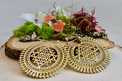 Sri Yantra Earrings Gold (Lrg)