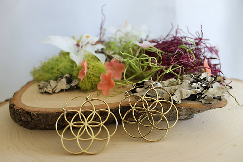 Seed of Life Earrings - sml -gold