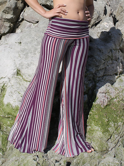 Purple Stripe Flare Pants