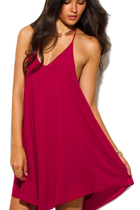 Red Wine Halter Dress