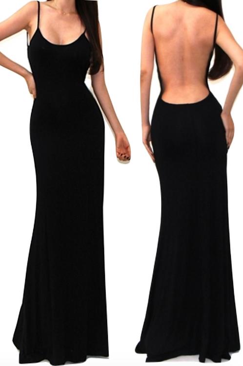 Athena Backless Dress - Black