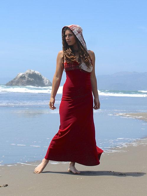 Maroon Long Hooded Dress
