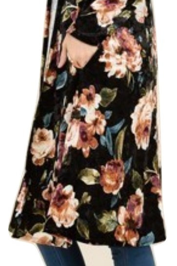 Black Velvet Floral Cardigan