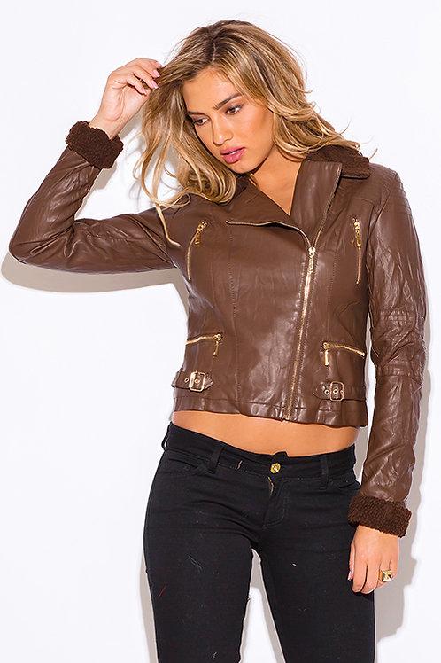 Chocolate Vegan Leather Jacket