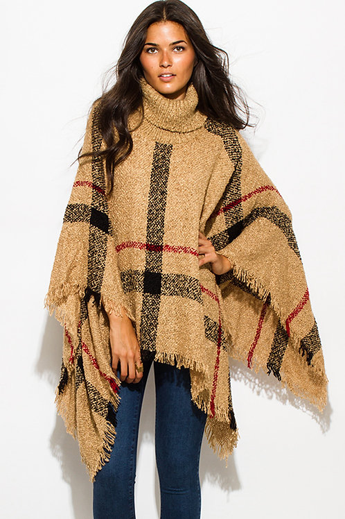 Tan Plaid Poncho