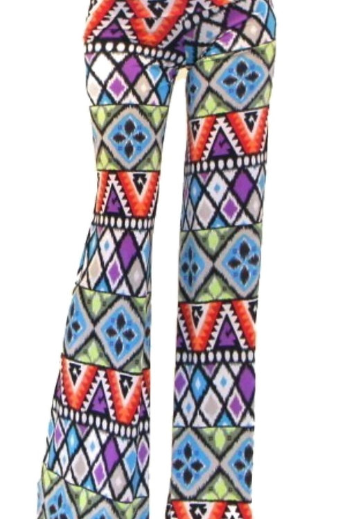 Abstract Flare Pants