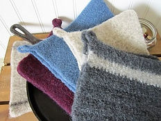 felted wool hotpads, wool pot holders, crafting with wool