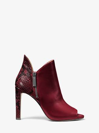 Item: Alane Leather and Python Embossed Open-Toe Ankle Boot