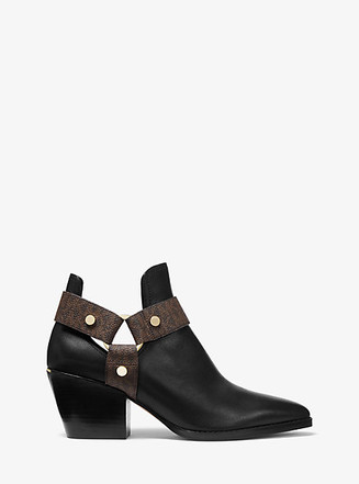 Item: Pamela Leather and Logo Ankle Boot