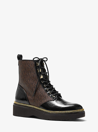 Item: Haskell Crinkled Leather and Logo Combat Boot