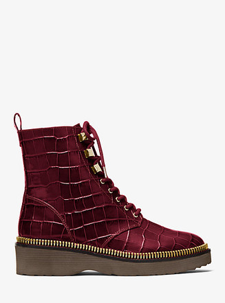 Item: Haskell Crocodile Embossed Leather Combat Boot