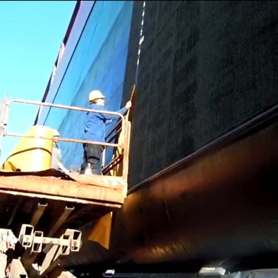 120 meter Cargo Ship Coaster with Finsulate antifouling wrap.