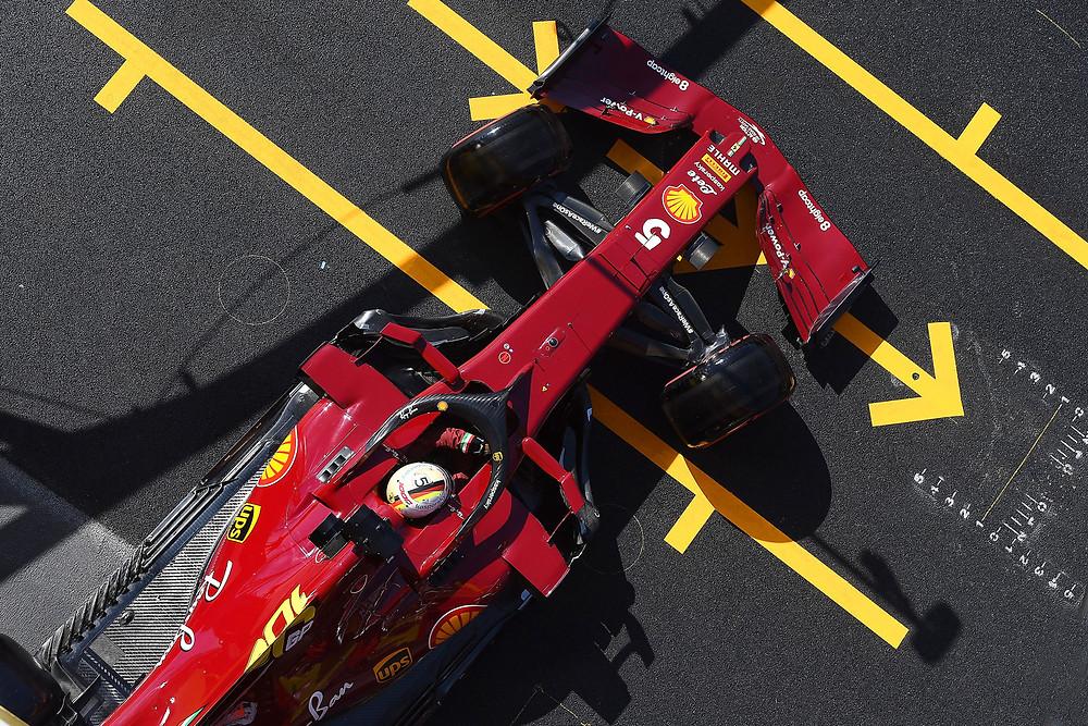 Vettel leaving the box in Tuscan GP Qualifying 2020