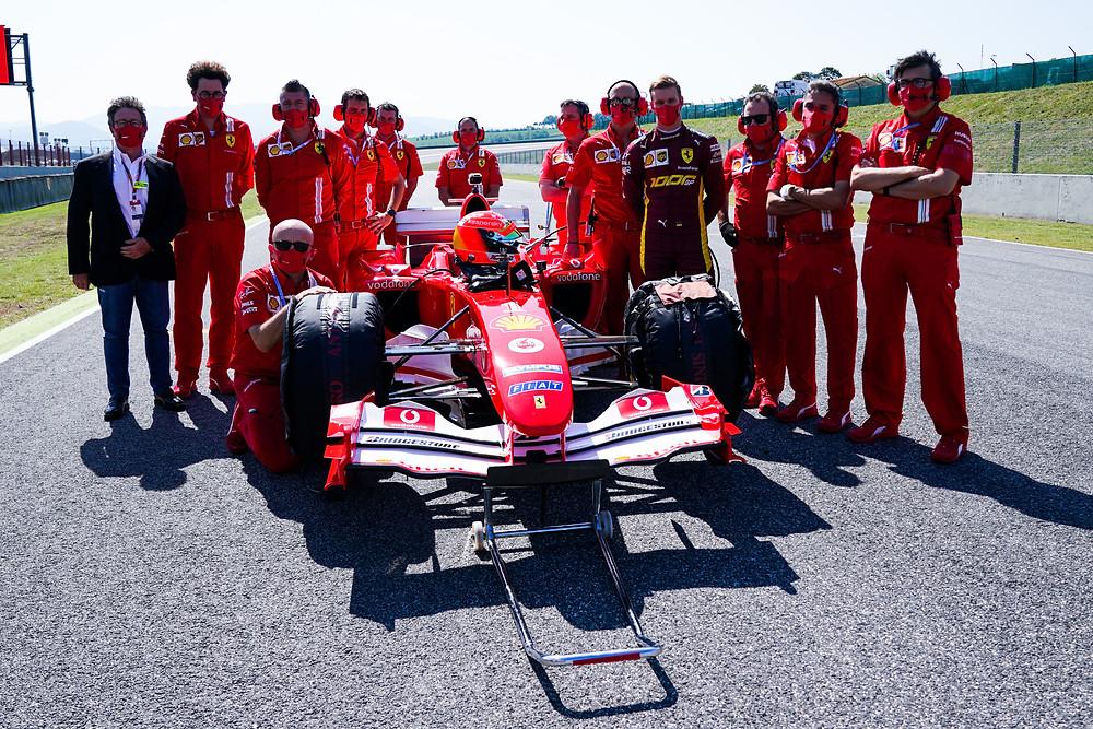 Michael Schumacher 2004 winning Ferrari driven by his son Mick
