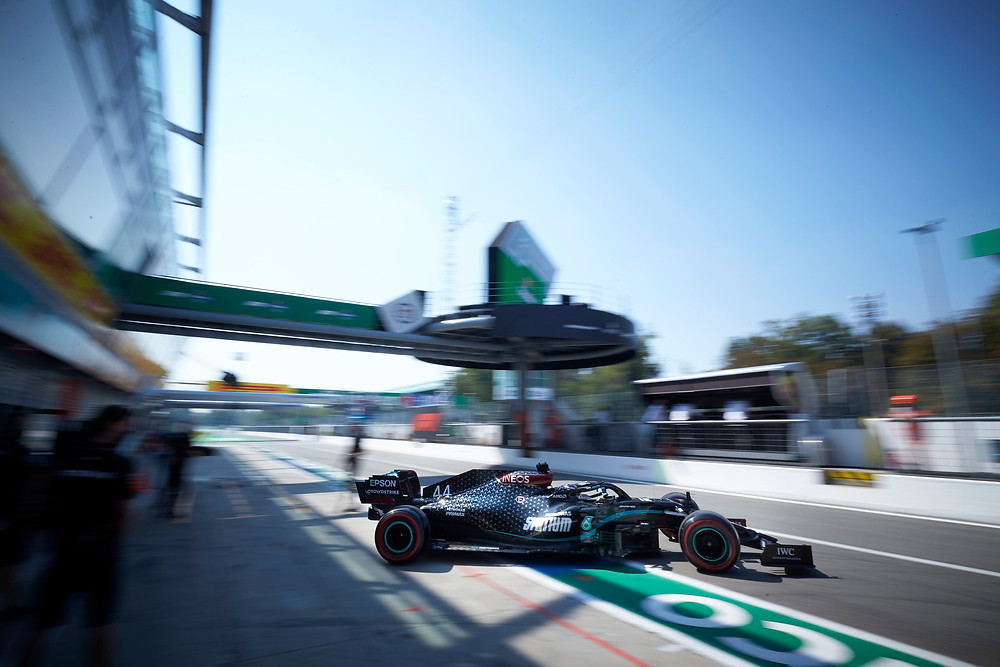 Hamilton leaving the boxes for the Italy 2020 Qualifying