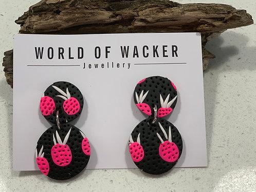 Pineapple Earrings - Black