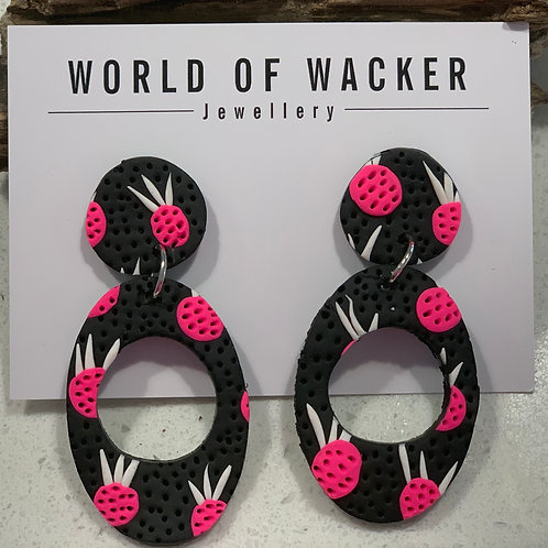 Pineapple Earrings - Black Loops