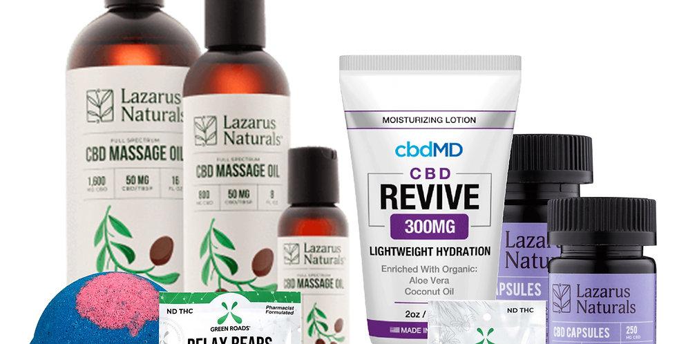 Relax and Revive Bundle Box- Lazarus Naturals, Green Roads, Purekana