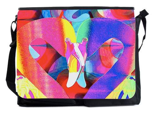 Schultertasche bunte Flamingos XL