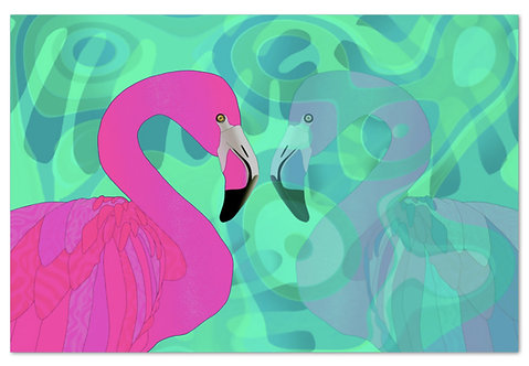 Flamingo im Spiegel