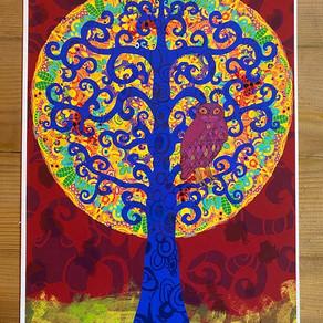 Auftragsarbeit - Baum mit Eule