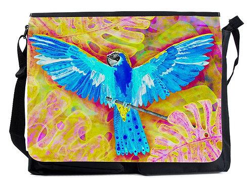 Schultertasche blauer Papagei XL