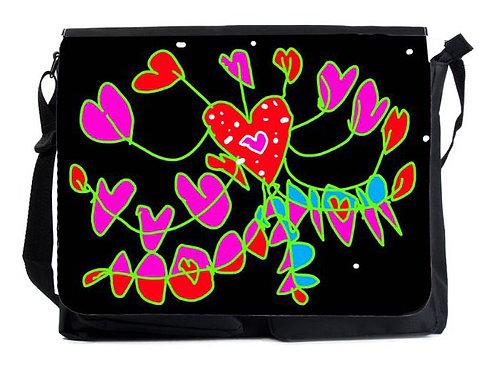 Schultertasche Herzblume XL