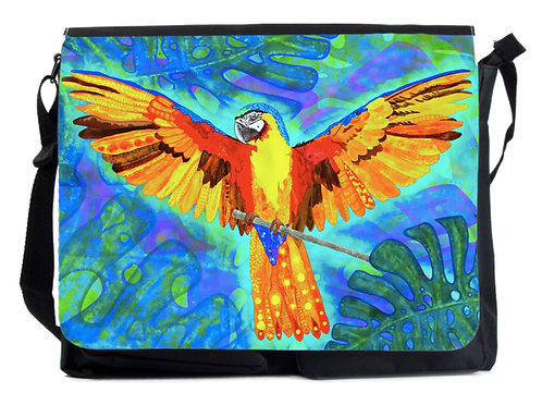 Schultertasche gelber Papagei XL