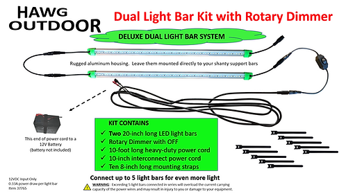 Dual 12V LED Light Bar Kit with Rotary Dimmer.  Connect up to 5 light bars