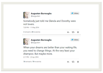 how to write a tweet example Augusten Burroughs