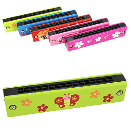 Baby Toys Musical Wooden Mini Cartoon Harmonica