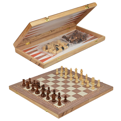 Foldable Travel Deluxe Wooden 3-in-1 Chess