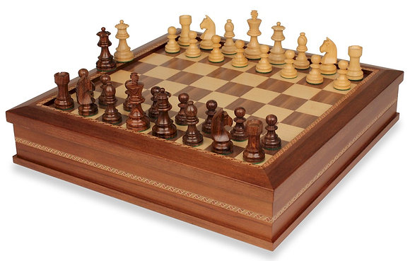 Chess Inlaid Wood Board Game with Wooden Pieces