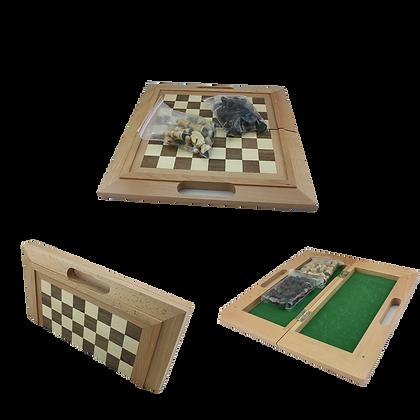 Classic Folding Oak Wood Chess Set With Handle