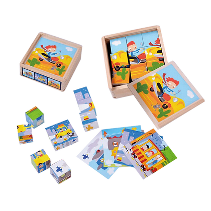 Vehicles Cube Blocks With Wooden Box