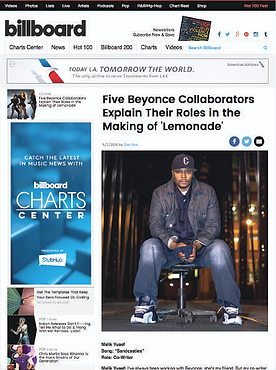 Malik Billboard Magazine Clipping Beyonce Lemonade